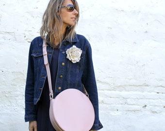 Pink crossbody bag, circle bag, round bag, leather crossbody bag, leather purse, cross body bag, crossbody purse, leather shoulder bag