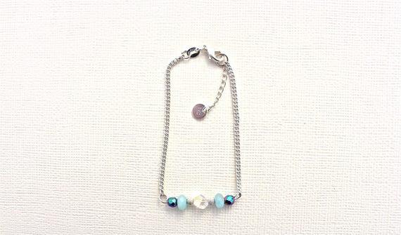 bracelet gourmette pierres fines : amazonite, hématite arc en ciel et swarovski