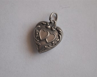 Puffy Heart Charm Sterling Silver Mama Double Heart Vintage Pendant