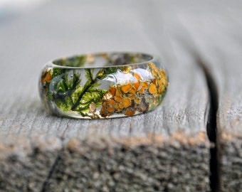 Terrarium Resin Ring, Nature Statement Ring, Men Ring, Eco Resin Ring, Moss Resin Ring, Men Wedding Band, Forest Ring, Nature inspired Ring