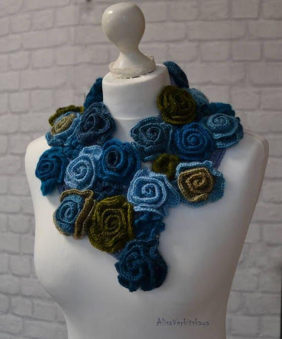 Rose Blume häkeln Boho Schal blauen Schal böhmischen Schal