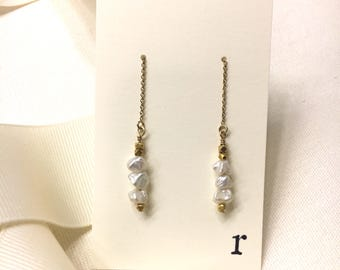 Simply Love -Gold Earrings with Pearls