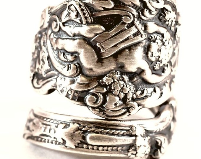 Sterling Gorham Versailles Cherub Ring, Antique 1888 Sterling Silver Spoon Ring, Baby Angel with Harp and Grapes, Adjustable Ring Size, 6640