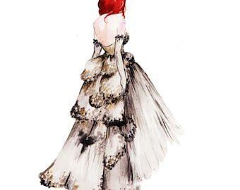 Vintage Dior  Print of Original Watercolor Fashion Illustration