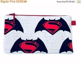 SALE 20% OFF Batman Superman Multi Purpose Pouch, Makeup Bag, Gadget Bag, Pencil Case, Small Craft Project Bag, Handmade in the UK