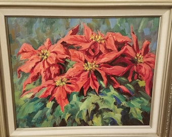 Vintage-Poinsettia-Painting-Oil-Flowers-Greenery-Martin Weekly-Signed-Framed-Wall Decor-Wall Hanging-Home Decor