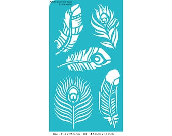 Stencil Stencils Peacock Feather Pattern Template, Reusable, Adhesive, Flexible, Craft, Decor, Painting stencil for all surface | FEATHERS |