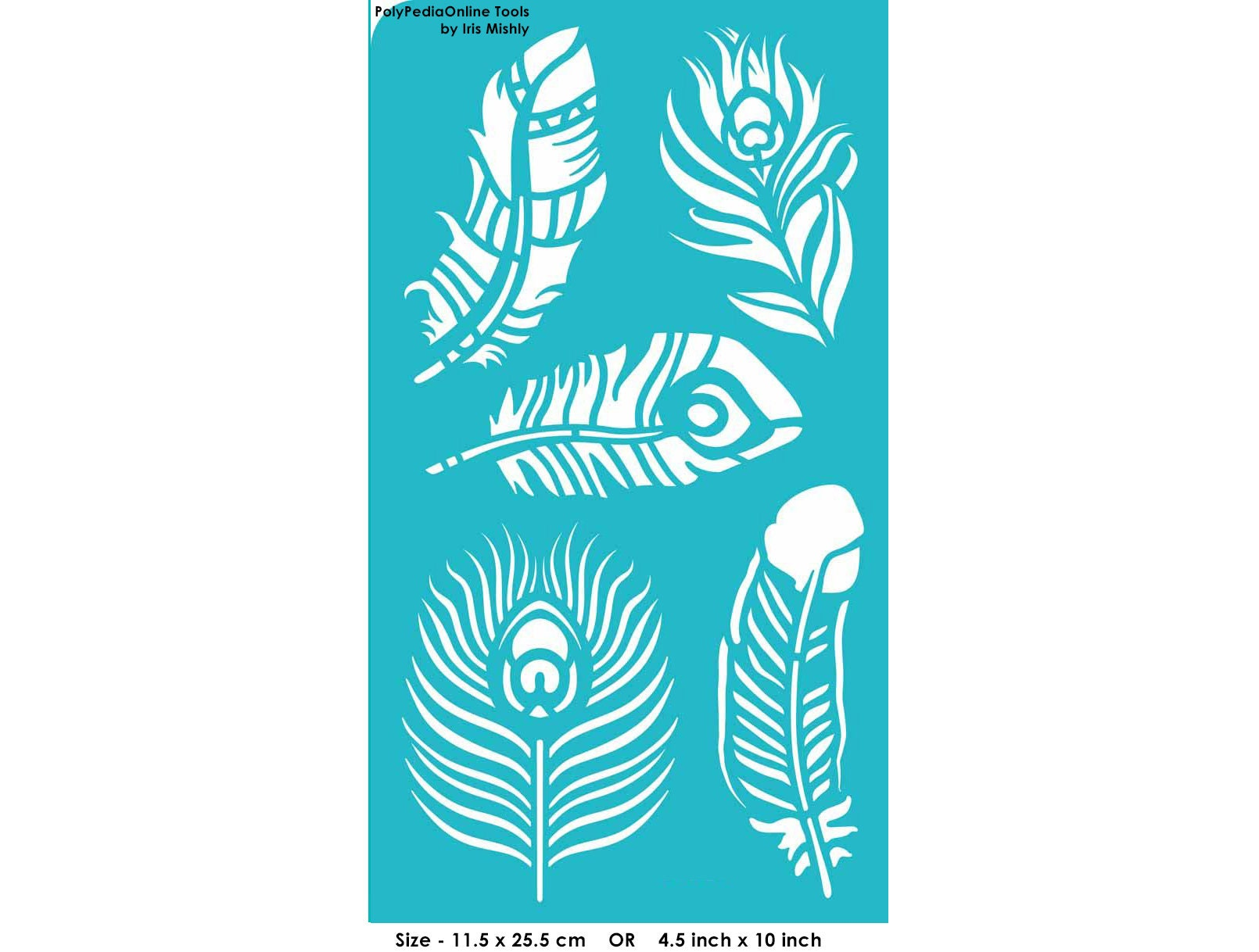 Stencil Stencils Peacock Feather Pattern Template Reusable # Bonjour Muebles