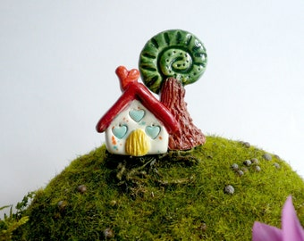 small house with miniature ceramic tree ceramic-home-small house for terrarium terrarium-House-ceramic decoration