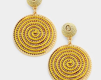 Swirl Thread Wrapped Disc Dangle Earrings - Gold/Gold