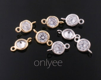 4pcs-11mmX6mm Gold,Rhodium plated  5mm with Cubic Zirconia connectors(K347)