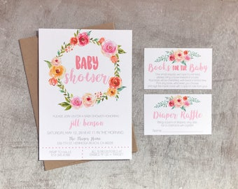 Floral Wreath Baby Shower Invitation Set | Books For Baby | Diaper Raffle | DIGITAL FILE | 4x6 or 5x7 File | Watercolor Flowers