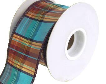 Elizabeth Plaid Wired Dupioni Ribbon, Turquoise, 2-1/2-Inch, 10 Yards