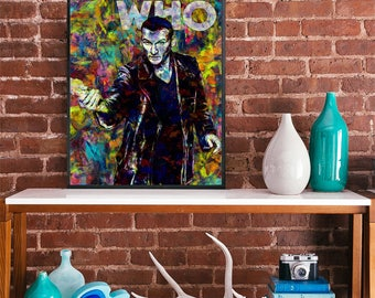 Dr Who 9th doctor christopher eccleston art poster watercolour paint movie poster