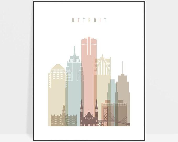 Detroit Wall Decor Art, Detroit Skyline, Detroit Print, Michigan cityscape, Travel decor, City poster, Home Decor, ArtPrintsVicky