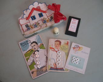 Pearl Button Cards, Needle Case, Thimble, Needles...All Vintage Sewing Notions