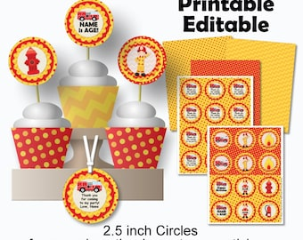 Printable Firetruck Birthday Favor Tags, Cupcake Toppers or Stickers Editable, diy, pdf, Instant Download