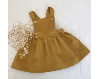 Girls dress Mustard yellow pinafore dress Juliette dress Girls citrine linen jumper Toddler dress honey pinafore  girls clothes
