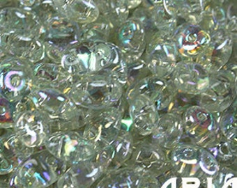 CRYSTAL GREEN RAINBOW: SuperDuo Two-Hole Czech Glass Seed Beads, 2.5x5mm (10 grams)
