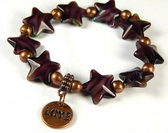 Star Struck Love Stretch Bracelet With Plum Glass Star Beads - Beaded Jewelry - Star Bracelet - Purple Bracelet - Love Charm Bracelets