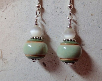 Ceramic Bead Earrings Green and Off White using Golem Bulgarian Beads on silver