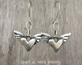 Winged Hearts, Dangling Winged Hearts, Lost Wax Cast, Sterling Winged Hearts, Artisan Made Hearts, Handmade Winged Heart Earrings