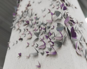 3d butterfly wall art 96PCS Shaded Effect Ombré Effect DIY Wall Sticker Home Wedding Room Art Decor Home Decoration Purple