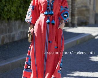 Kaftan Midi Boho Dress Ukrainian Vyshyvanka Dress Embroidered Women Dress Mexican Red Dress Bohemian Abaya Caftan. IN STOCK Free Delivery