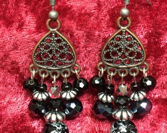 Black glass bead and filigree dangle earrings