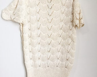 Vintage Crochet Tunic with Flutter Sleeves