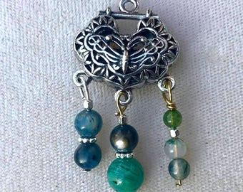 Victorian Butterfly Blue Green Gemstone Pendant
