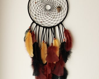 Black, Yellow, and Burgundy Dreamcatcher with Arrowhead and Jasper
