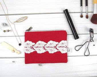 Linen Lace zipper pouch small size - VINTAGE SAVANNAH in Cherry - vintage cotton lace, linen cosmetic bag, passport case clutch