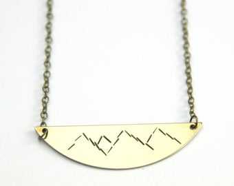 Gold Brass Mountain Necklace | Inspirational Jewelry | Climber adventurous | Scandinavian Geometric | Mountains are calling And I Must Go