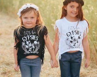 Girls Gypsy Fringe Side Tee - Fringe Tee - Toddler Fringe T Shirt - Fringe Shirt - Little Girls Fringe Shirt - Fringe T Shirt - Graphic Tee