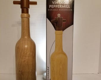 Vintage Wooden Wine Bottle Peppermill, Pepper Mill.