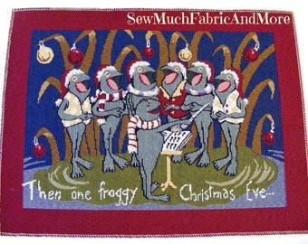 """Then One Froggy Christmas Eve Tapestry Fabric Panel~ 13-1/2""""x18""""~Singing Frogs~For placemats or pillows"""