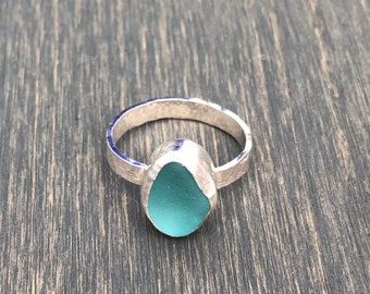 Light Blue Sea Glass Ring with Hammered Band