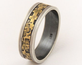 Men's engagement ring - 7mm wide,men's wedding band ring,sterling silver and brass