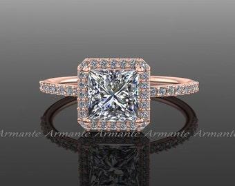 Princess Cut Engagement Ring, Halo Princess Cut Ring, 1 Carat Charles Colvard Moissanite, 14K Rose Gold Diamond Ring, Re0005