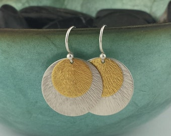 Gold Earrings, Silver Earrings, Silver and Gold Earrings, Hammered Earrings, Disc Earrings, Keum Boo Earrings, Round Earrings, Gold Earring