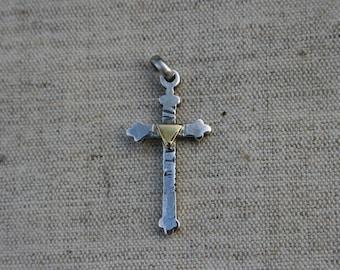 Sterling Silver Cross, Unisex Pendant, Cross Pendant, Silver Cross Necklace, Silver and Brass Cross Pendants, Triangle Brass,