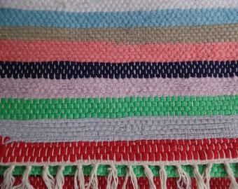 "Vintage Handmade Rag Rug, Green Pink Striped, Handwoven on Loom w/ Fringe, 42"" x 24"" Cheerful Bright ~ 3 x 2 ft, Kitchen, Bathroom, Porch"