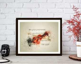 Violin art prints, office wall decor, musical prints, print bedroom, prints for the home, musical art, poster