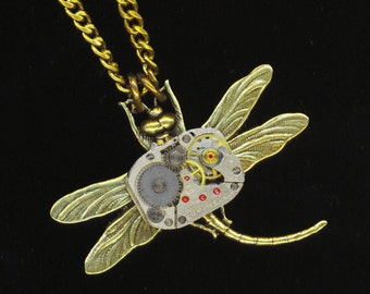 Steampunk Dragonfly Pendant, Vintage Watch Movement, Brass Dragonfly, Victorian Gothic, Father's Day Gift -Cute  Dragonfly by enchantedbeas