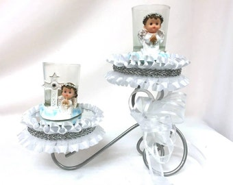 Christening Candle Holder Cake Topper Centerpiece
