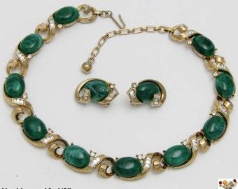 Vintage TRIFARI Simulated Malachite  Baguette Rhinestone Necklace Earrings Set