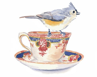 Teacup Watercolor - Bird Watercolor Painting, Tufted Titmouse, Painting Print, Kitchen Art