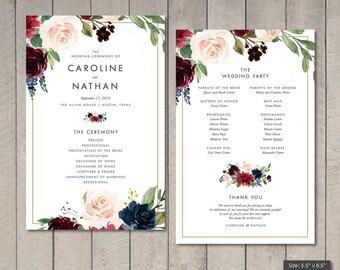 Merlot Watercolor Floral Wedding Program (Printable) by Vintage Sweet