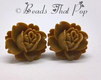 Tan Flower Earrings, Rose Stud Earrings, Light Brown Earrings, Handmade, Neutral Earrings, Great gift for all ages, Handmade in the USA!